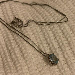 Light blue topaz sterling necklace